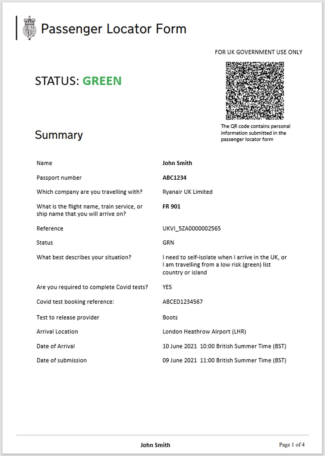 Green List: No Exemptions - Staying in the UK